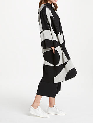 Buy PATTERNITY + John Lewis Oversized Signature Intarsia Cardigan, Black/White, XS Online at johnlewis.com