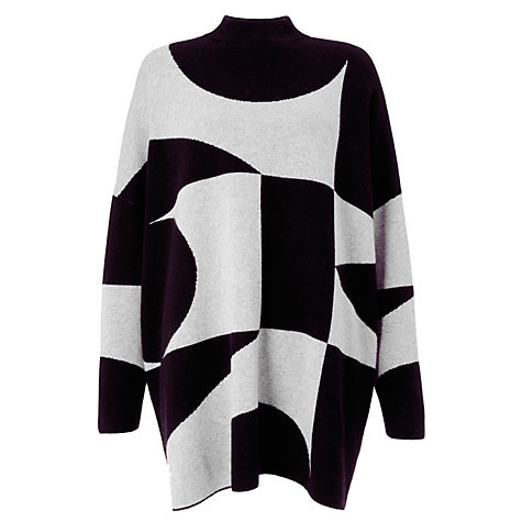 Buy PATTERNITY + John Lewis Oversized Signature Intarsia Jumper, Black/Grey Online at johnlewis.com