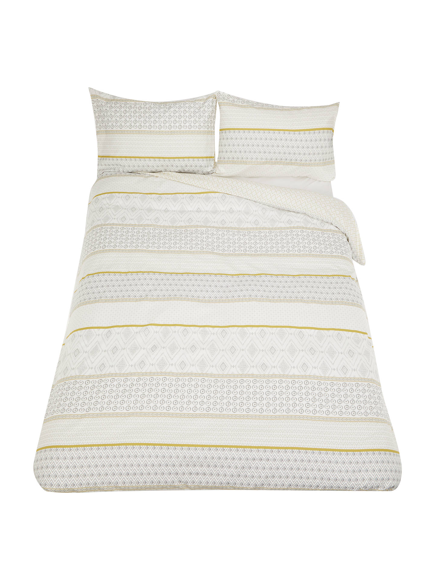 BuyJohn Lewis & Partners Textured and Decorative Fusion Nisha Stripe Duvet Cover Set, Single, Yellow Online at johnlewis.com