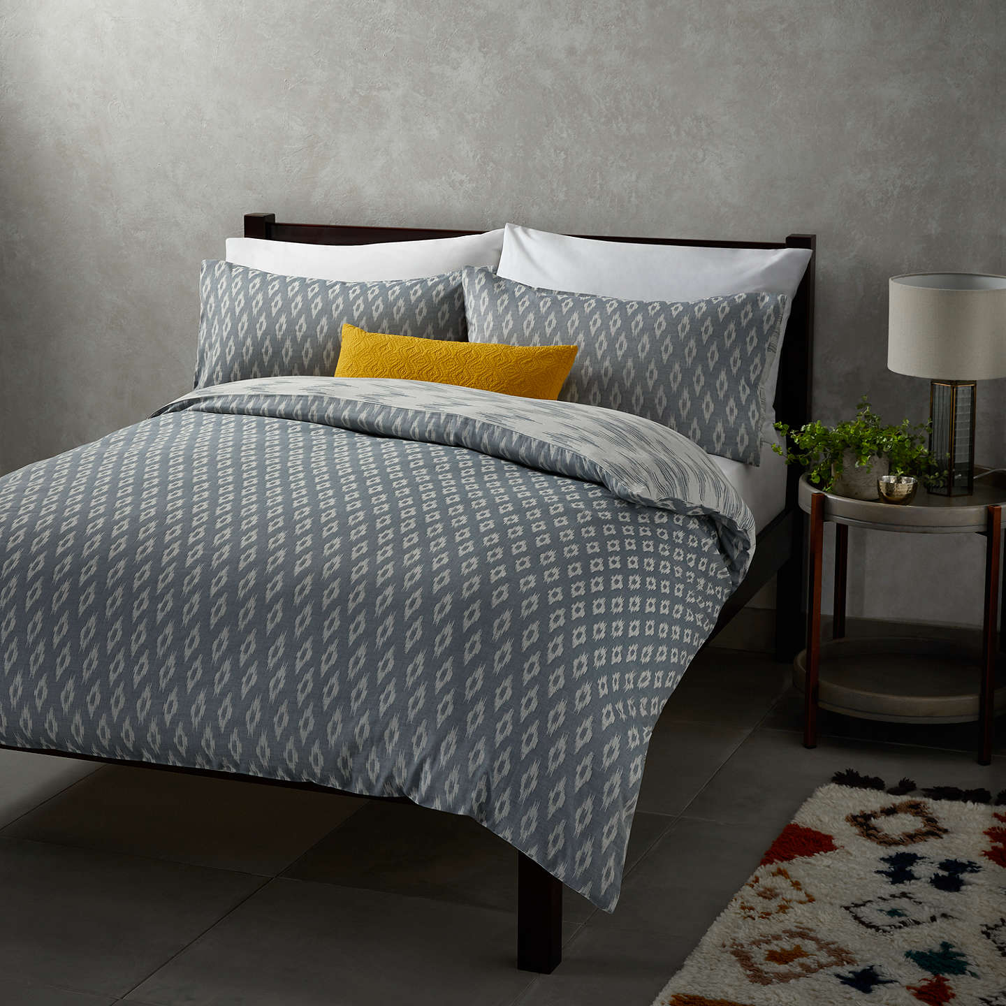 John Lewis Fusion Ikat Reversible Duvet Cover Set Single Blue Online At Johnlewis