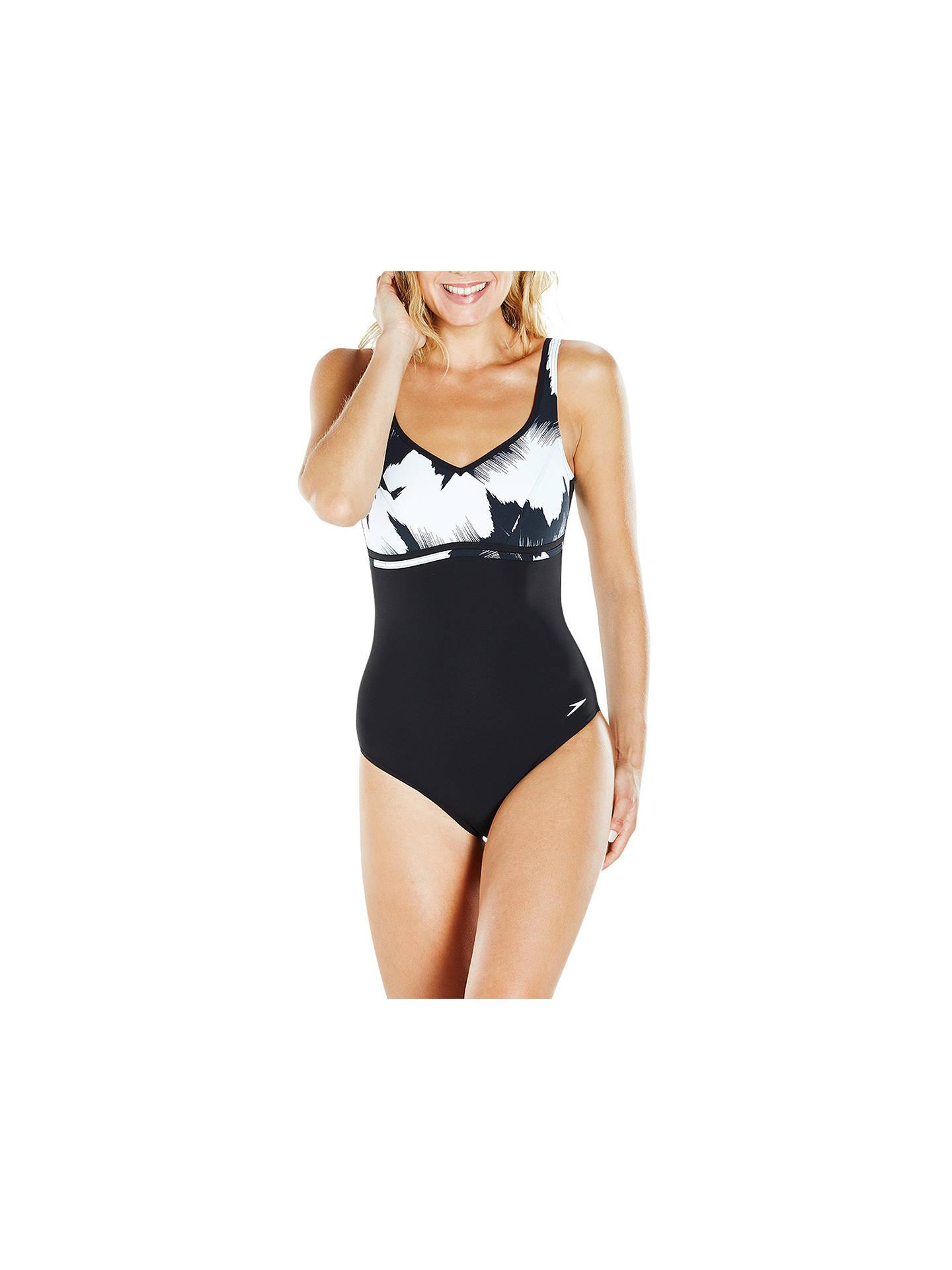 475b47e2790cb Buy Speedo Sculpture Contourluxe One Piece Swimsuit, Black/White, 32 Online  at johnlewis ...