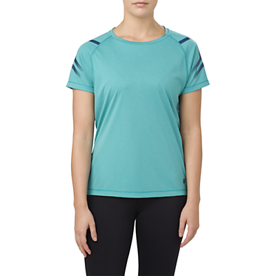 Asics Icon Short Sleeve Running Top, Lake Blue Heather