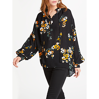 Product photo of And or ivy floral print blouse black ochre