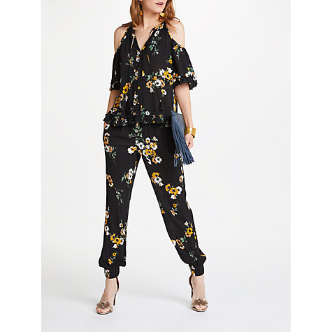 Buy AND/OR Roxanne Nevada Floral Trousers, Black/Ivory/Ochre Online at johnlewis.com