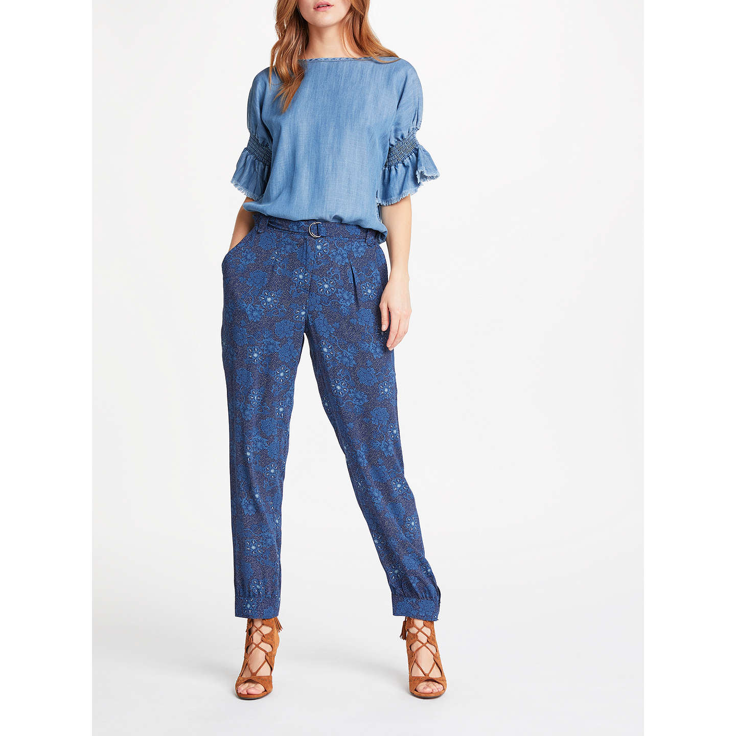 BuyAND/OR Floral Patsy Print Trousers, Indigo, 8 Online at johnlewis.com