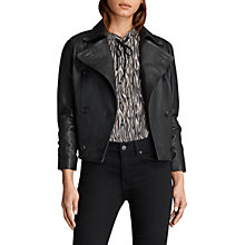 Buy AllSaints Deebee Leather Blazer, Black Online at johnlewis.com