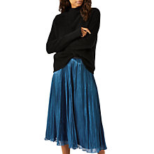 Buy Jigsaw Pleated Iridescent Midi Skirt, Dark Petrol Online at johnlewis.com
