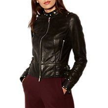 Buy Karen Millen Leather Collection Studd Biker Jacket, Black Online at johnlewis.com