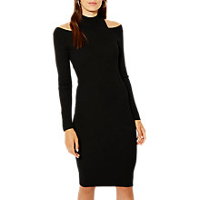 Buy Karen Millen Military Popper Rib Collar Dress, Black Online at johnlewis.com