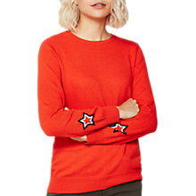 Buy Mint Velvet Star Cuff Knit Jumper, Orange Online at johnlewis.com