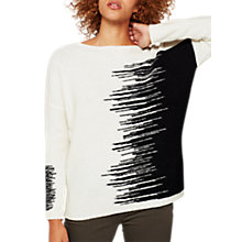 Buy Mint Velvet Paint Brush Batwing Jumper, Ivory/Black Online at johnlewis.com