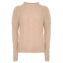 Buy Mint Velvet All-Over Cable Knit Jumper, Light Orange Online at johnlewis.com