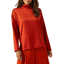Buy Jigsaw Satin Twill Funnel Neck Top, Nordic Orange Online at johnlewis.com