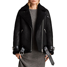 Buy AllSaints Hawley Oversized Shearling Jacket, Black Online at johnlewis.com