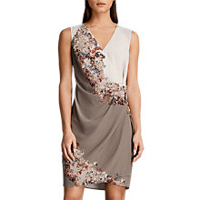 Buy AllSaints Anika Silk Wrap Floral Dress, Taupe Online at johnlewis.com