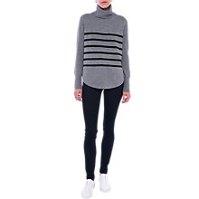 Buy French Connection Stripe Roll Neck Jumper, Grey/Black Online at johnlewis.com
