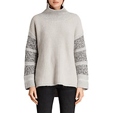 Buy AllSaints Keats Funnel Neck Jumper, Porcelain/Grey Online at johnlewis.com