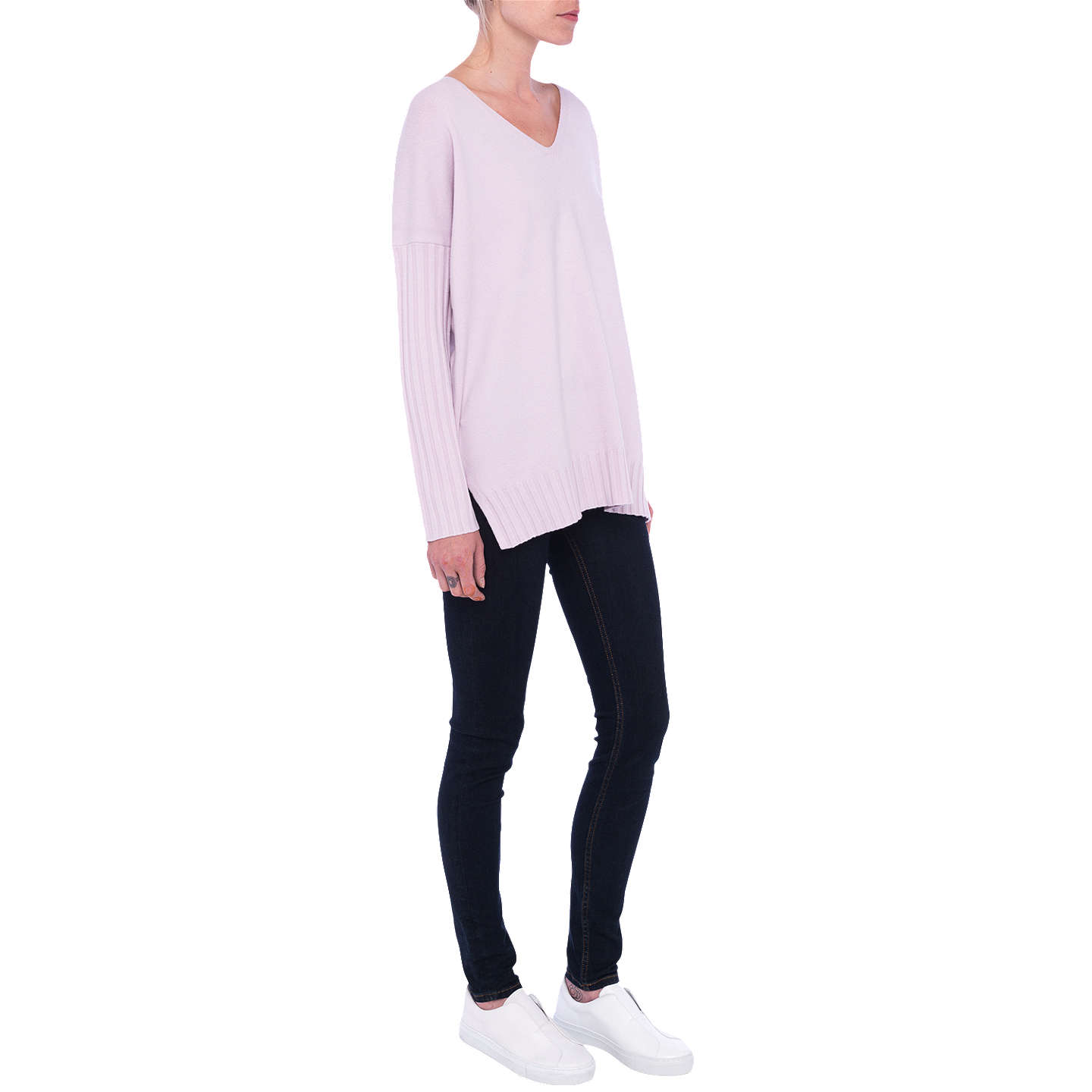 BuyFrench Connection Vhari Ribbed V-Neck Jumper, Roxy Kiss, XS Online at johnlewis.com