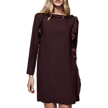 Buy Reiss Neptune Ruffle Sleeve Shift Dress, Oxblood Red Online at johnlewis.com