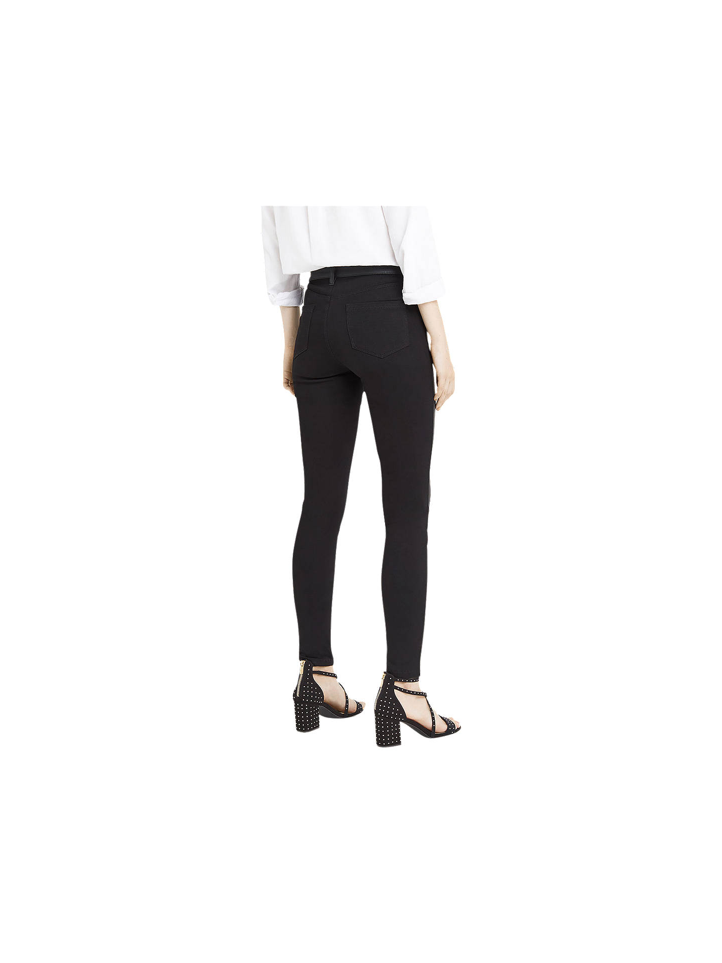 BuyOasis Coated Pinstitch Jeans , Black, 6 Online at johnlewis.com