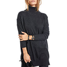 Buy hush Cashmere Roll Neck Dress, Charcoal Marl Online at johnlewis.com