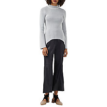Buy Finery Liesl Ribbed Asymmetric Hem Jumper, Grey/White Online at johnlewis.com