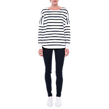 Buy French Connection Babysoft Striped Long Sleeve Top, White/Navy Online at johnlewis.com