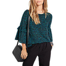 Buy hush Antibes Bell Sleeve Blouse, Green Leopard Online at johnlewis.com