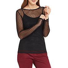 Buy Oasis Mesh Long Sleeve Top, Black Online at johnlewis.com