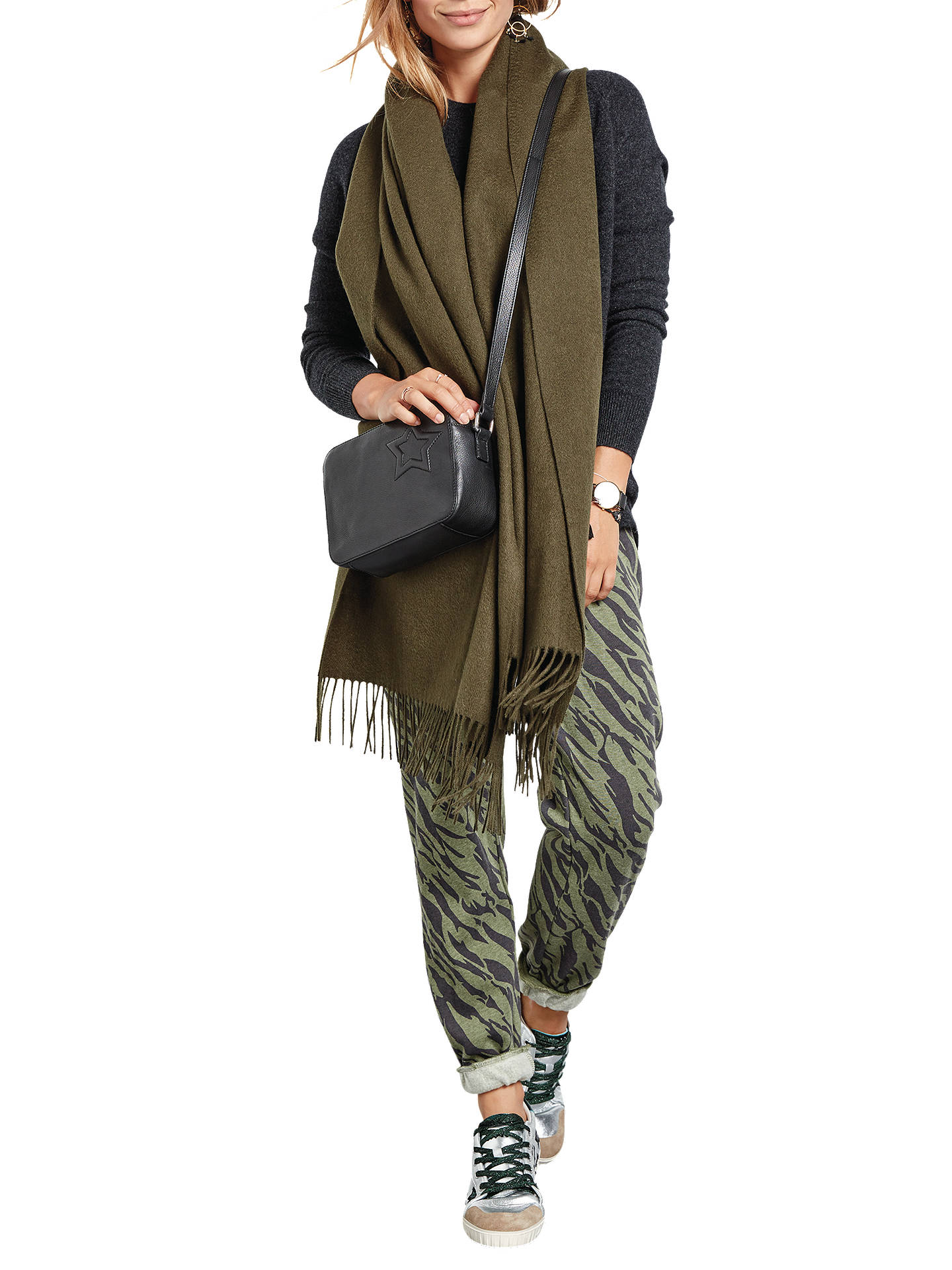 7542a80a37a966 Buy hush Morgan Printed Joggers, Zebra Olive/Charcoal, XS Online at  johnlewis.