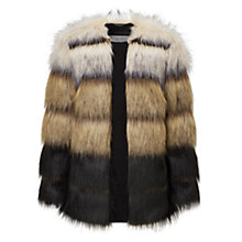 Buy Grace & Oliver Madison Stripe Faux Fur Jacket, Black/Multi Online at johnlewis.com