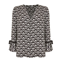 Buy Mint Velvet Emelie Printed Flute Sleeve Top, Multi Online at johnlewis.com