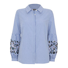 Buy Mint Velvet Stripe Embroidered Sleeve Shirt, Multi Online at johnlewis.com