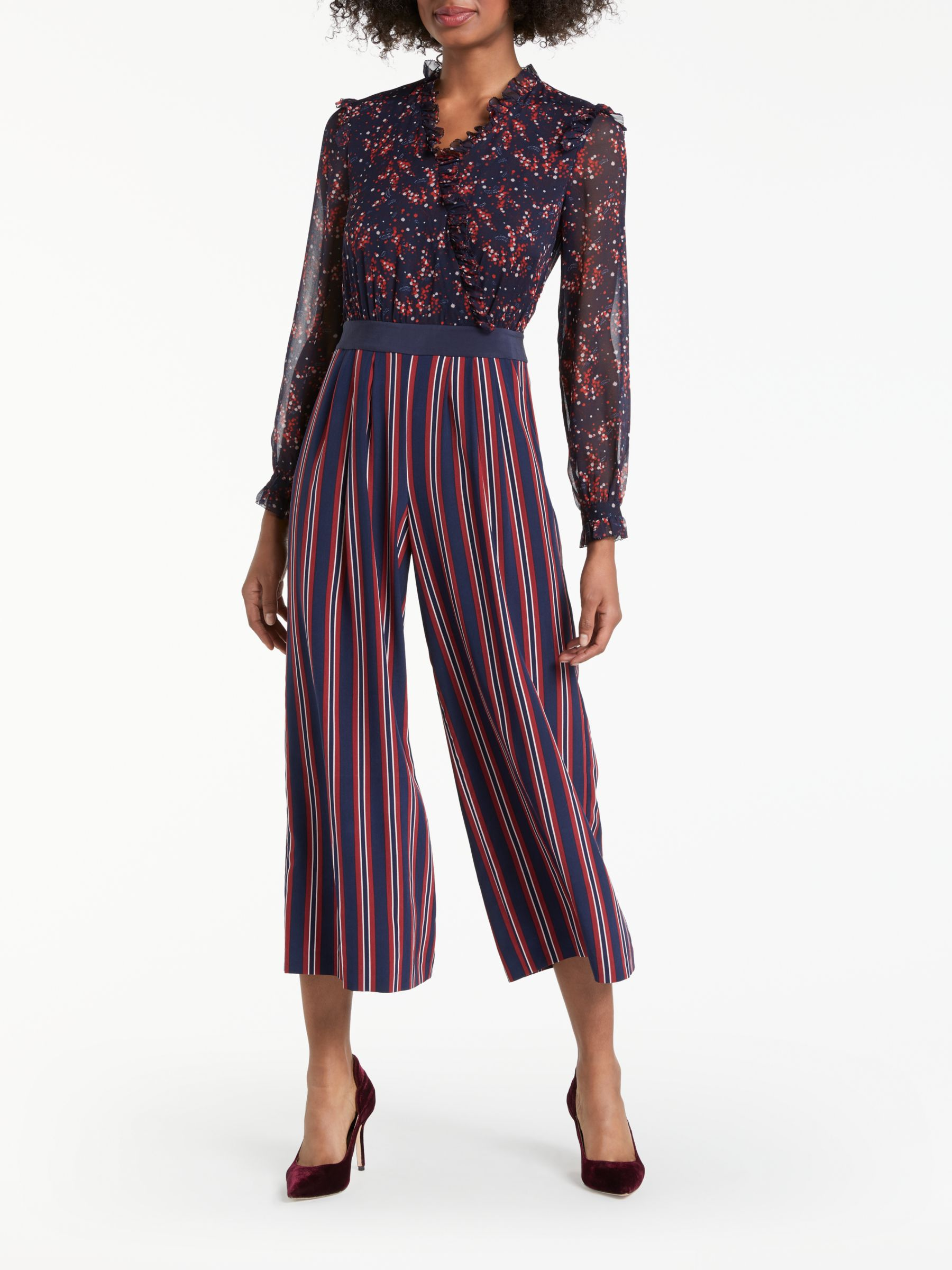 964e307e9b07 Boden Cicely Palazzo Silk Floral Print and Striped Jumpsuit