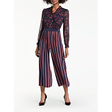 Buy Boden Cicely Palazzo Silk Floral Print and Striped Jumpsuit, Red/Navy Online at johnlewis.com