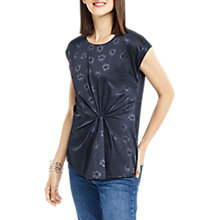 Buy Oasis Floral Jacquard Twist Top, Navy Online at johnlewis.com