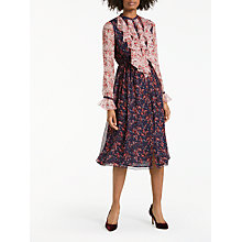 Buy Boden Winifred Midi Frill Floral Dress, Spiced Plum/Marshmallow Online at johnlewis.com