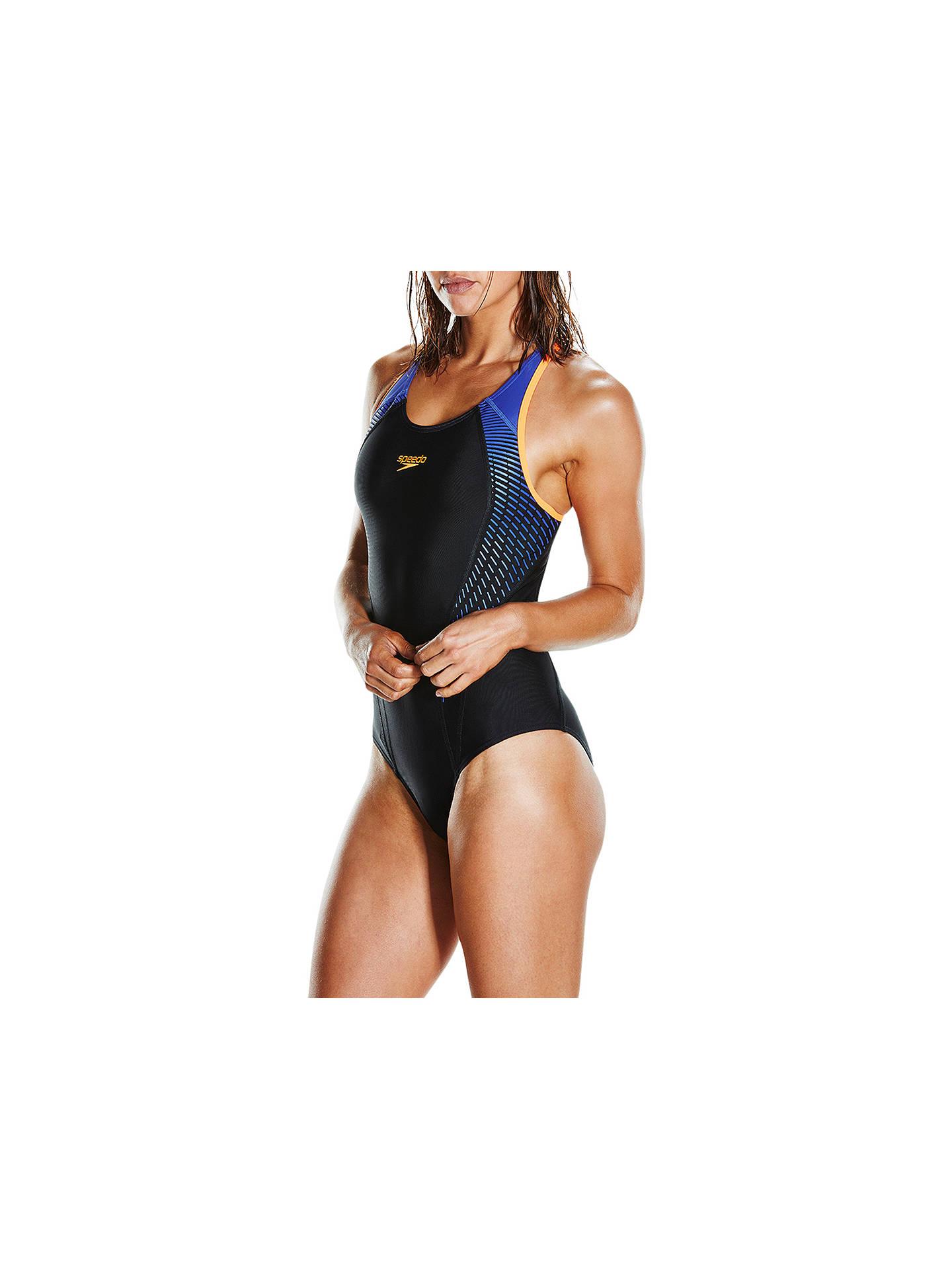 ea6691f1d6 Buy Speedo Fit Laneback Swimsuit, Black/Orange/Ultramarine, 32 Online at  johnlewis ...