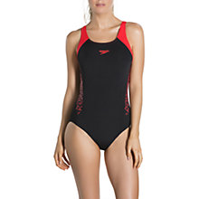 Buy Speedo Boom Splice Muscleback Swimsuit, Black/Lava Red Online at johnlewis.com