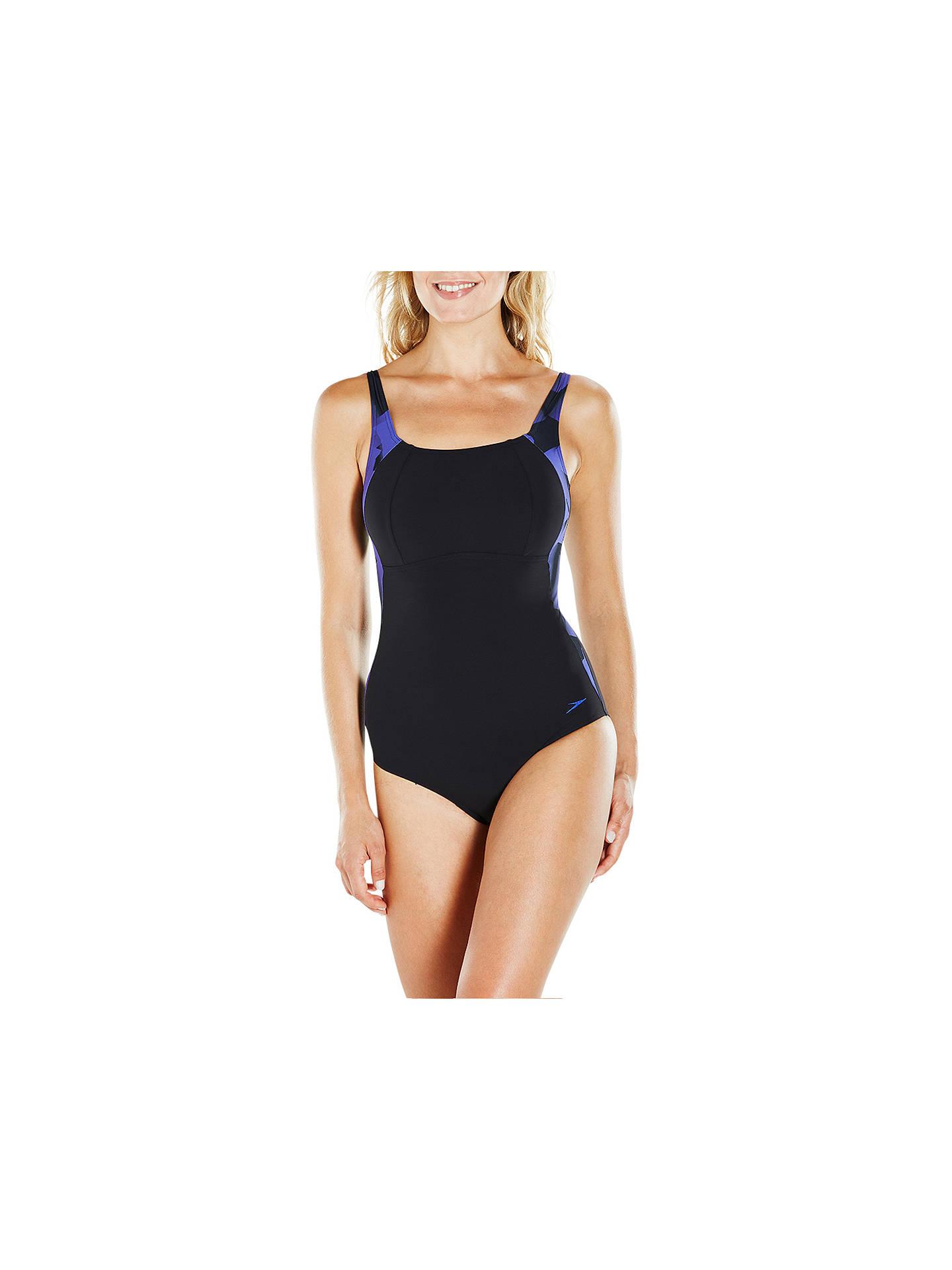 922af0e6ad7 Buy Speedo Sculpture LunaLustre Printed Swimsuit, Black/Ultramarine, 32  Online at johnlewis.