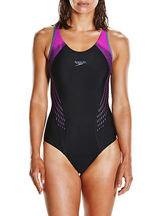 Speedo Fit Laneback Swimsuit, Black/Diva/Grey
