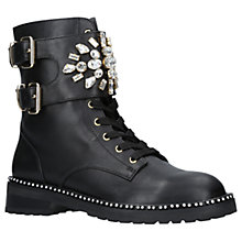 Buy Kurt Geiger Stoop Embellished Ankle Boots, Black Leather Online at johnlewis.com