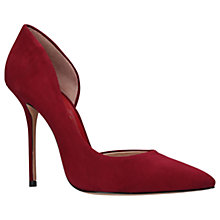 Buy Kurt Geiger Anja Aysmmetric Court Shoes, Red Wine Suede Online at johnlewis.com