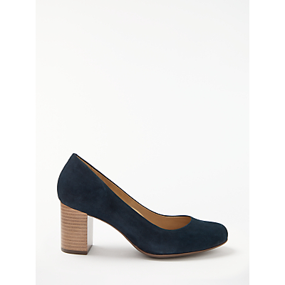 John Lewis Anita Block Heeled Court Shoes, Navy