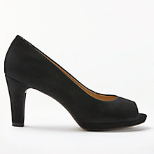 Buy John Lewis Ariela Peep Toe Court Shoes, Black Nubuck Online at johnlewis.com