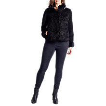 Buy Four Seasons Astrakan Faux Fur Trimmed Jacket, Black Online at johnlewis.com