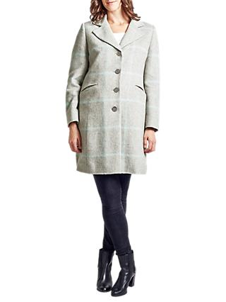 Four Seasons Single Breasted Check Coat, Pale Grey