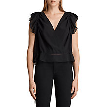 Buy AllSaints Phoebe Top, Black Online at johnlewis.com