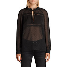 Buy AllSaints Veda Shimmer Top, Black Online at johnlewis.com