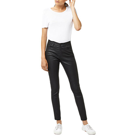 Buy Warehouse Coated Skinny Jeans, Black Online at johnlewis.com